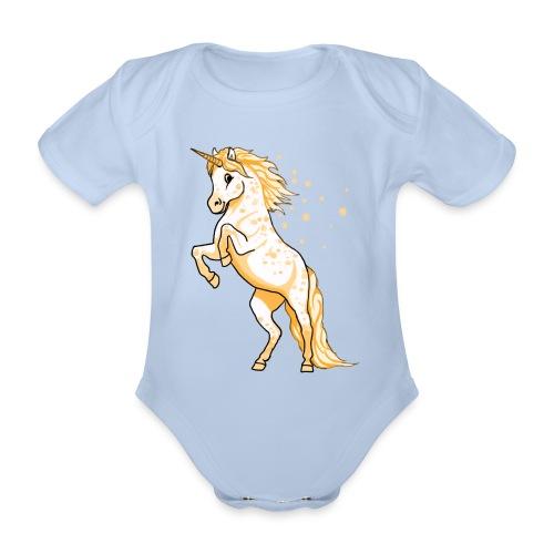Pünktchen Einhorn gelb steigend - Baby - Baby Bio-Kurzarm-Body