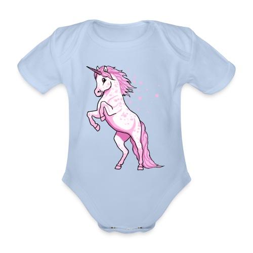Pünktchen Einhorn rosa steigend - Baby - Baby Bio-Kurzarm-Body