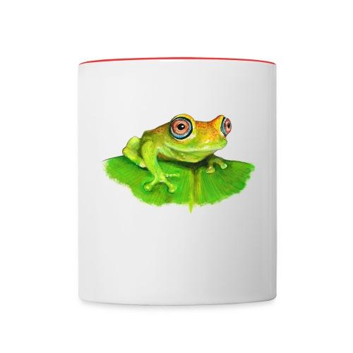 Frosch mit roten Augen - Tasse zweifarbig