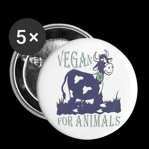 VEGAN FOR ANIMALS - Buttons groß 56 mm (5er Pack)