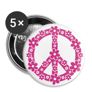 PEACE BUTTON MAGENTA - Buttons groß 56 mm