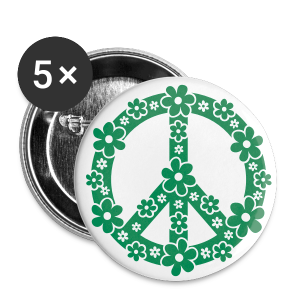 PEACE BUTTON GRÜN - Buttons groß 56 mm