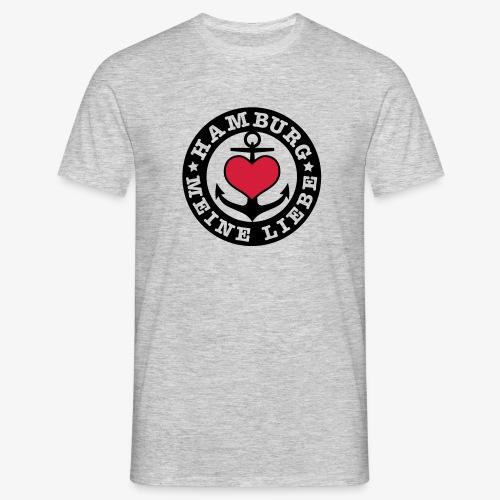 Hamburg meine Liebe I LOVE  Herz auf Anker Heart Männer T-Shirt - Männer T-Shirt