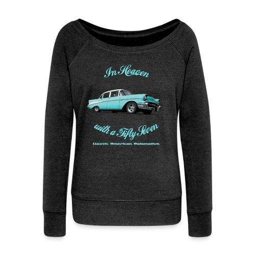 Womens boat neck top | 57 Chevy Belair-2015 | Classic American Automotive - Women's Boat Neck Long Sleeve Top