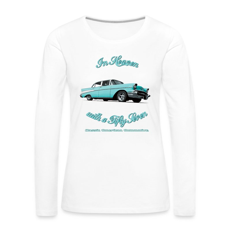 Womens roll-sleeve t-shirt | 57 Chevy Belair-2015 | Classic American Automotive - Women's Premium Longsleeve Shirt
