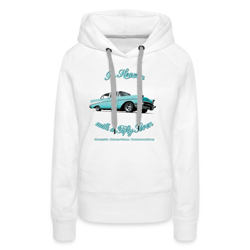 Womens hooded sweat-shirt | 57 Chevy Belair-2015 | Classic American Automotive - Women's Premium Hoodie