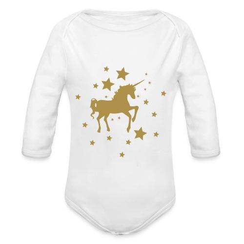 Einhorn Star Gold - Baby Bio-Langarm-Body