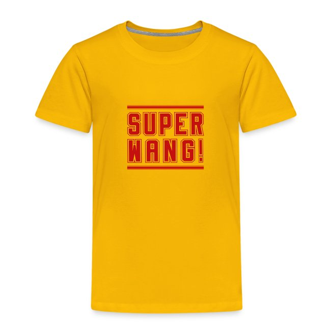 "SUPER WANG! T-Shirt für Kinder, rotes Logo ""SUPER WANG!"""