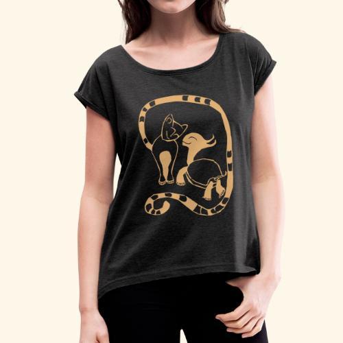 Damen Shirt - Cat & Turtle - Frauen T-Shirt mit gerollten Ärmeln