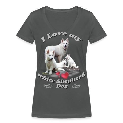 weißer schweizer schäferhund - Frauen Bio-T-Shirt mit V-Ausschnitt von Stanley & Stella