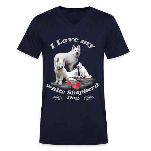 weißer schweizer schäferhund - Männer Bio-T-Shirt mit V-Ausschnitt von Stanley & Stella