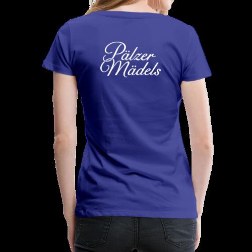 Pälzer Mädels T-Shirt (Damen Blau/Weiß) Rücken - Frauen Premium T-Shirt