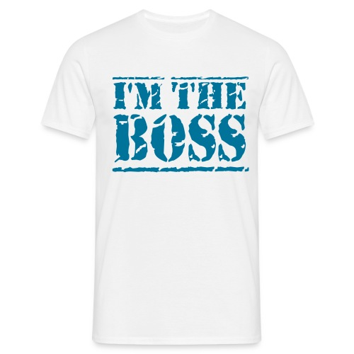 Boss Shirt - White & Blue - Men's T-Shirt