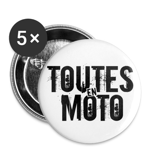 Badge Blanc Logo Noir - Pack de 5  - Lot de 5 petits badges (25 mm)