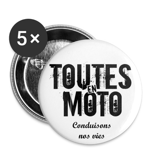 Badge Blanc Logo Noir Conduisons nos vies - Pack de 5  - Badge petit 25 mm