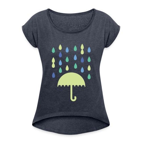 Bunter Regen - Frauen T-Shirt mit gerollten Ärmeln