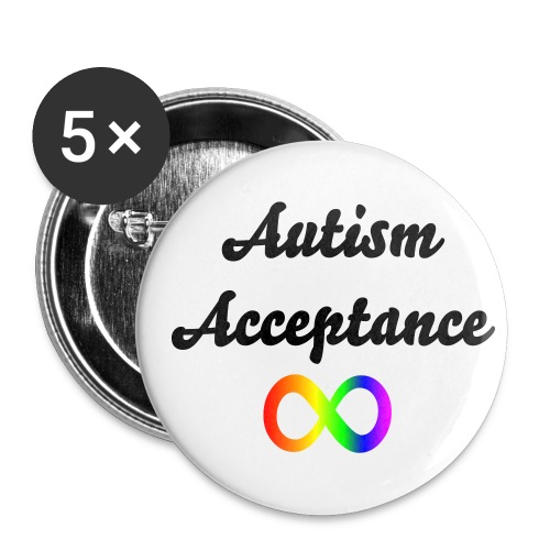 'Autism Acceptance' Infinity 5 Pack Badges - Buttons small 1''/25 mm (5-pack)