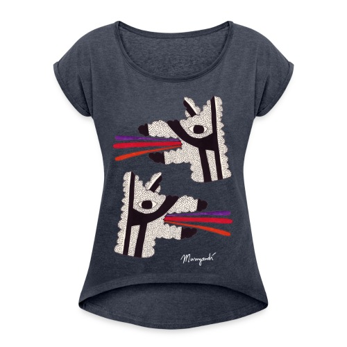 Dog Tongues - Women's rolled sleeves - Women's T-Shirt with rolled up sleeves