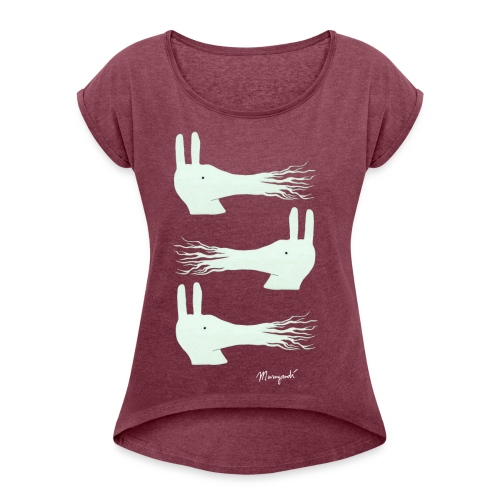 Three Musketeers white, Women's rolled sleeves - Women's T-Shirt with rolled up sleeves
