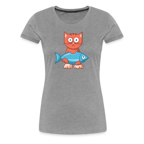 VL109B_Katze+Fisch_4c T-Shirts - Frauen Premium T-Shirt