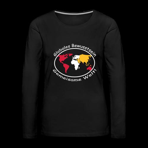 TIAN GREEN Long Shirt Women - Globales Bewusstsein - Frauen Premium Langarmshirt