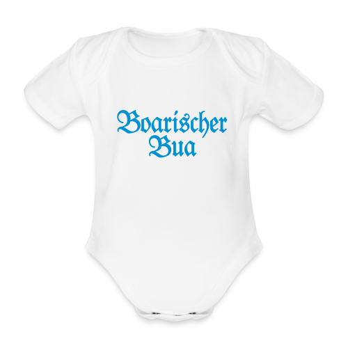 Boarischer Bua Babybody (Weiß/Blau) - Baby Bio-Kurzarm-Body