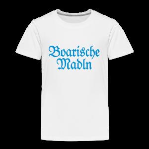 Boarische Madln Kinder T-Shirt (Weiß/Blau) - Kinder Premium T-Shirt