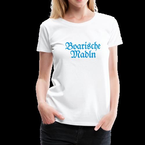Boarische Madln T-Shirt (Weiß/Blau) - Frauen Premium T-Shirt