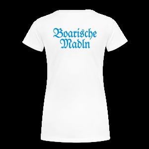 Boarische Madln T-Shirt (Weiß/Blau) Rücken - Frauen Premium T-Shirt