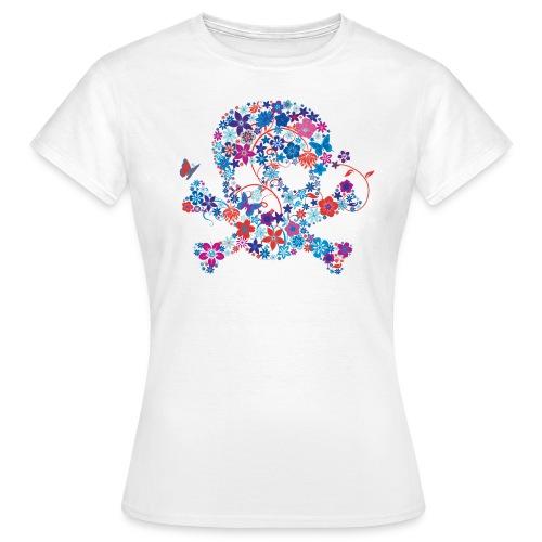 T-shirt tête de mort fleurs bleu électrique (blue skull) - T-shirt Femme