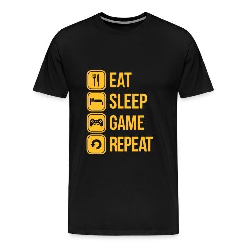 Mens Eat Sleep Game Repeat T-Shirt - Men's Premium T-Shirt