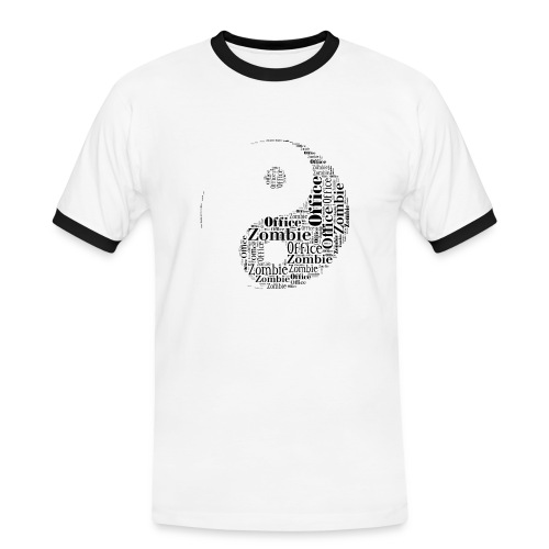Office zombie mens t-shirt, black & white - Miesten kontrastipaita