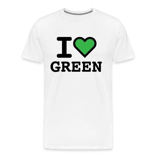 T-shirt white I LOVE GREEN  (man) - Maglietta Premium da uomo