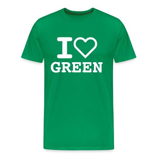 T-shirt green I LOVE GREEN  (man) - Maglietta Premium da uomo