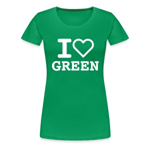 T-shirt green I LOVE GREEN  (woman) - Maglietta Premium da donna