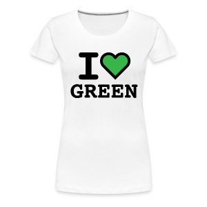 T-shirt white I LOVE GREEN  (woman) - Maglietta Premium da donna