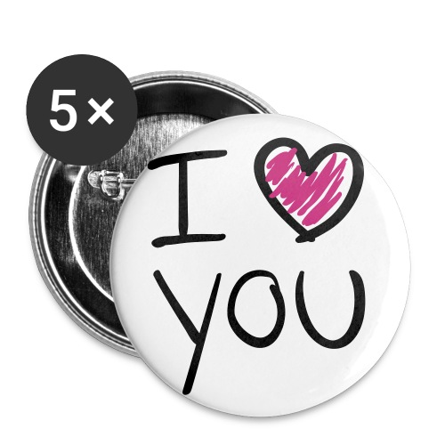 button i love u - Buttons groot 56 mm (5-pack)