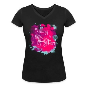 Riding is Art pink - Shirt V - Frauen T-Shirt mit V-Ausschnitt