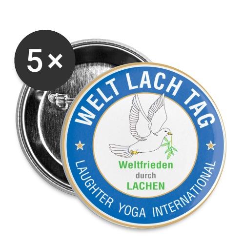 WELTLACHTAG Button mit aktuellem Logo - Buttons groß 56 mm (5er Pack)