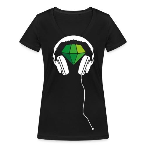 T-Shirt Mädels Schw./ Grün - Frauen Bio-T-Shirt mit V-Ausschnitt von Stanley & Stella