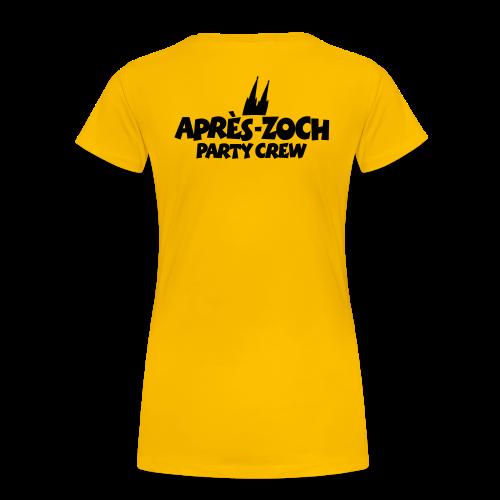 Après-Zoch Party Crew T-Shirt (Damen/Gelb) Rücken - Frauen Premium T-Shirt
