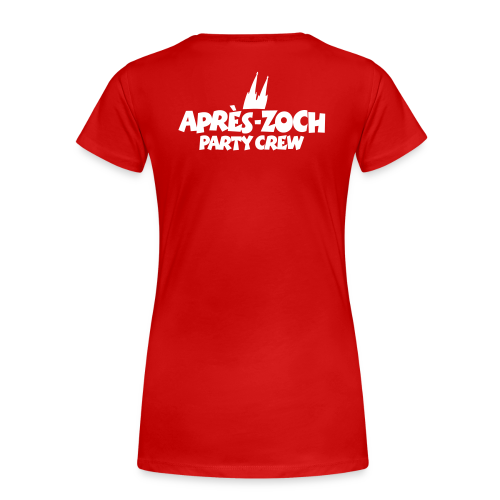 Après-Zoch Party Crew 2014 T-Shirt (Damen/Rot) Rücken - Frauen Premium T-Shirt