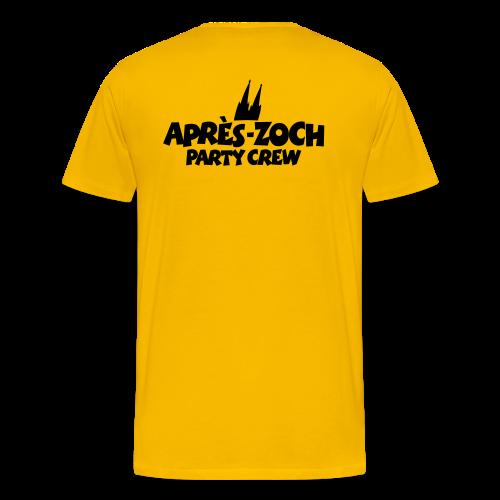Après-Zoch Party Crew T-Shirt (Herren/Gelb) Rücken - Männer Premium T-Shirt