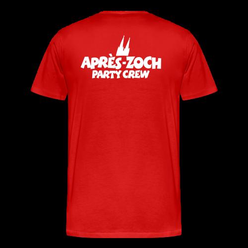 Après-Zoch Party Crew T-Shirt (Herren/Rot) Rücken - Männer Premium T-Shirt