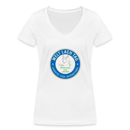 WELTLACHTAG T-Shirt mit aktuellem Logo - Frauen Bio-T-Shirt mit V-Ausschnitt von Stanley & Stella