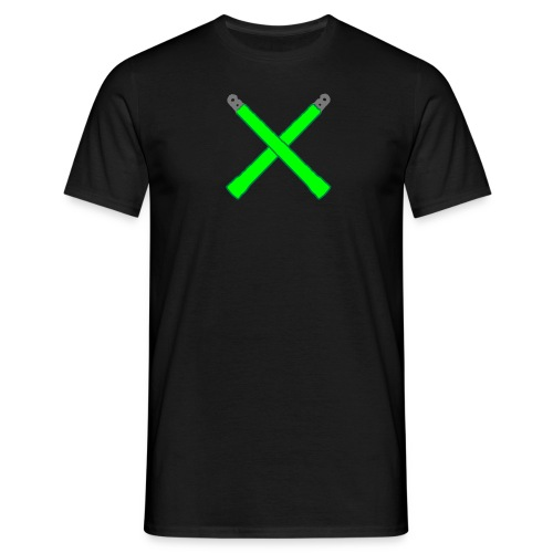 Neon Green Crossed Glowsticks Tee - Men's T-Shirt