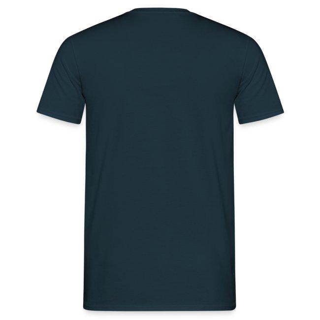 Günstiges Shirt Herren, Folien-Text hellblau/weiß