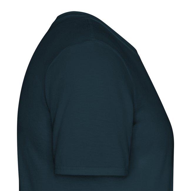 Günstiges T-Shirt Herren, Folien-Text hellblau/weiß