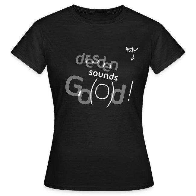 Günstiges T-Shirt Damen, Folien-Text grau/weiß