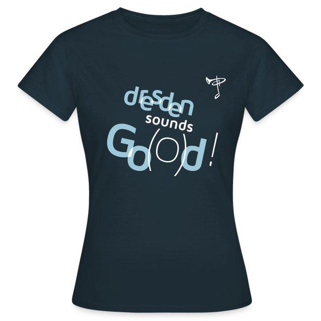 Günstiges T-Shirt Damen, Folien-Text hellblau/weiß